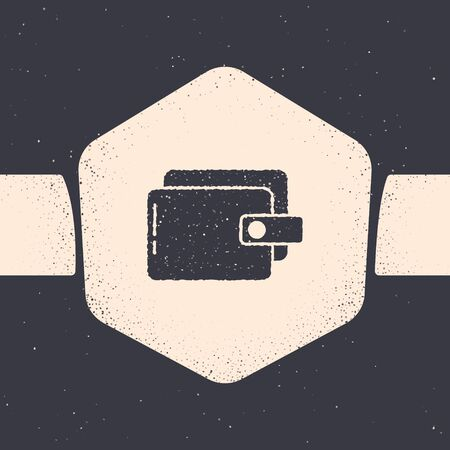 Grunge Wallet icon isolated on grey background. Purse icon. Cash savings symbol. Monochrome vintage drawing. Vector Illustration