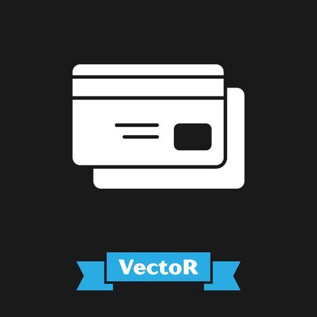 White Credit card icon isolated on black background. Online payment. Cash withdrawal. Financial operations. Shopping sign. Vector Illustration Vectores