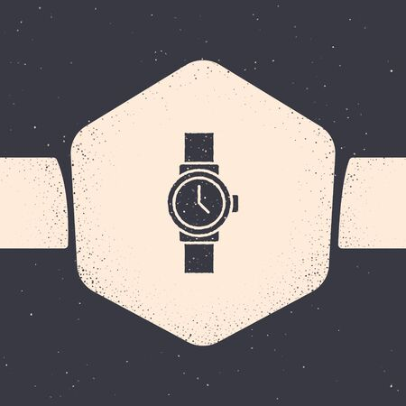 Grunge Wrist watch icon isolated on grey background. Wristwatch icon. Monochrome vintage drawing. Vector Illustration