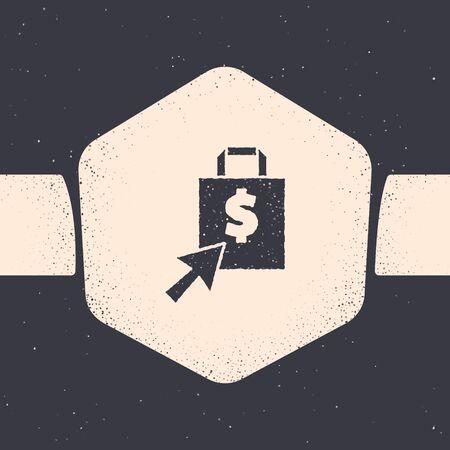 Grunge Shoping bag and dollar icon isolated on grey background. Handbag sign. Woman bag icon. Female handbag sign. Monochrome vintage drawing. Vector Illustration