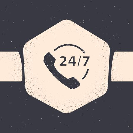 Grunge Telephone 24 hours support icon isolated on grey background. All-day customer support call-center. Full time call services. Monochrome vintage drawing. Vector Illustration