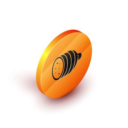 Isometric Salami sausage icon isolated on white background. Meat delicatessen product. Orange circle button. Vector Illustration