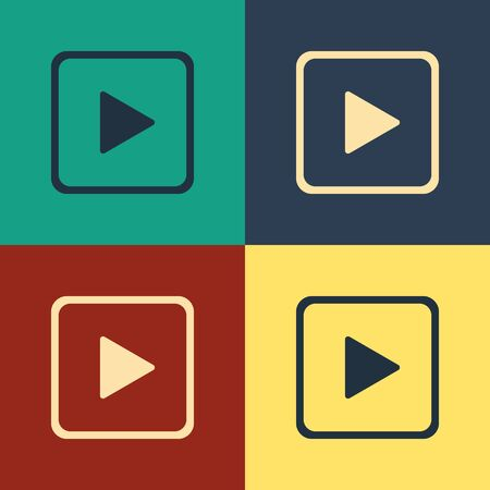 Color Play in square icon isolated on color background. Vintage style drawing. Vector Illustration