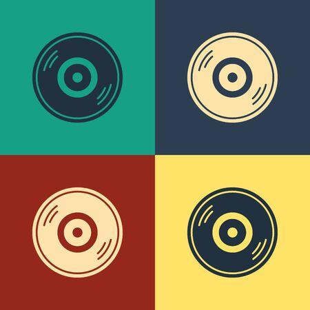 Color Vinyl disk icon isolated on color background. Vintage style drawing. Vector Illustration Vektorgrafik
