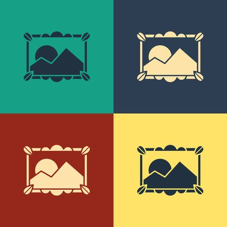 Color Picture landscape icon isolated on color background. Vintage style drawing. Vector Illustration