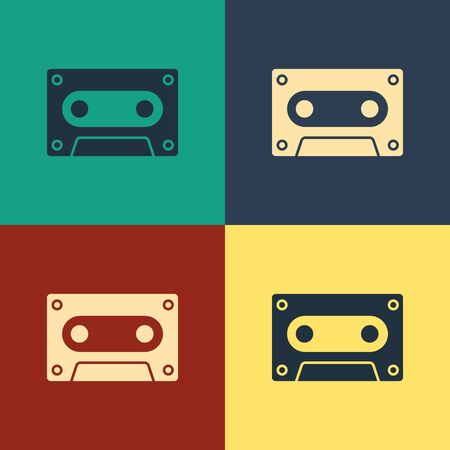 Color Retro audio cassette tape icon isolated on color background. Vintage style drawing. Vector Illustration