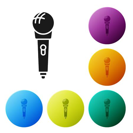 Black Microphone icon isolated on white background. On air radio mic microphone. Speaker sign. Set icons colorful circle buttons. Vector Illustration