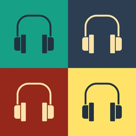 Color Headphones icon isolated on color background. Earphones. Concept for listening to music, service, communication and operator. Vintage style drawing. Vector Illustration