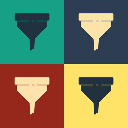 Color Funnel or filter icon isolated on color background. Vintage style drawing. Vector Illustration