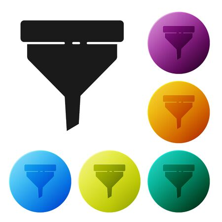 Black Funnel or filter icon isolated on white background. Set icons colorful circle buttons. Vector Illustration