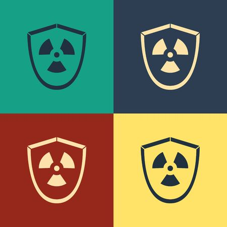 Color Radioactive in shield icon isolated on color background. Radioactive toxic symbol. Radiation Hazard sign. Vintage style drawing. Vector Illustration
