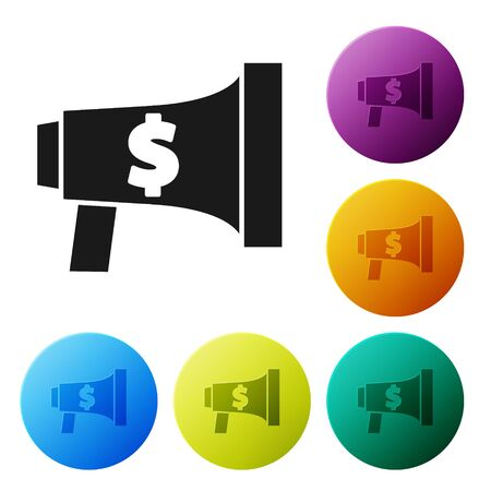 Black Megaphone and dollar icon isolated on white background. Loud speach alert concept. Bullhorn for Mouthpiece scream promotion. Set icons colorful circle buttons. Vector Illustration