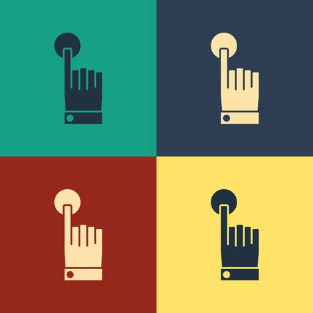 Color Hand touch and tap gesture icon isolated on color background. Click here, finger, touch, pointer, cursor, mouse symbol. Vintage style drawing. Vector Illustration