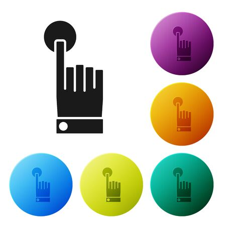 Black Hand touch and tap gesture icon isolated on white background. Click here, finger, touch, pointer, cursor, mouse symbol. Set icons colorful circle buttons. Vector Illustration Иллюстрация