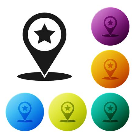 Black Map pointer with star icon isolated on white background. Star favorite pin map icon. Map markers. Set icons colorful circle buttons. Vector Illustration