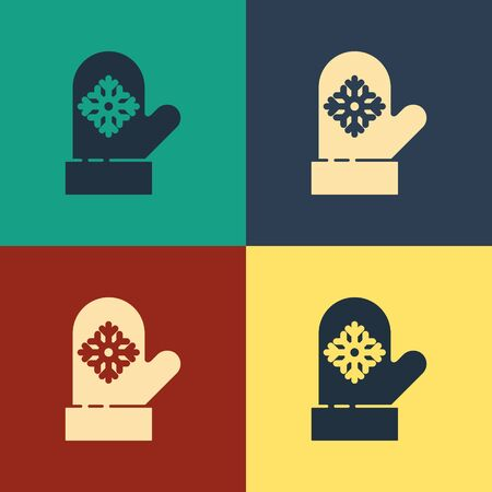 Color Christmas mitten icon isolated on color background. Vintage style drawing. Vector Illustration
