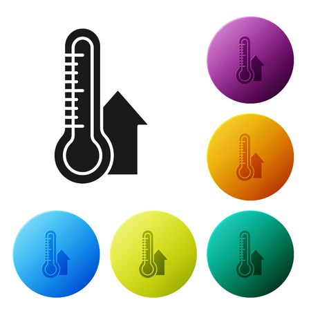 Black Meteorology thermometer measuring icon isolated on white background. Thermometer equipment showing hot or cold weather. Set icons colorful circle buttons. Vector Illustration