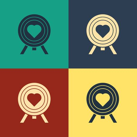 Color Heart in the center of darts target aim icon isolated on color background. Valentines day. Vintage style drawing. Vector Illustration