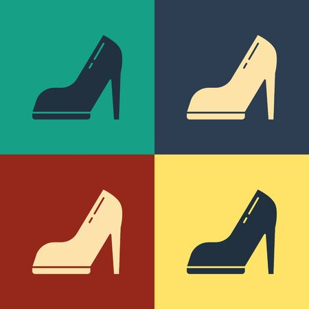 Color Woman shoe with high heel icon isolated on color background. Vintage style drawing. Vector Illustration