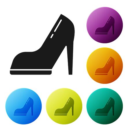 Black Woman shoe with high heel icon isolated on white background. Set icons colorful circle buttons. Vector Illustration
