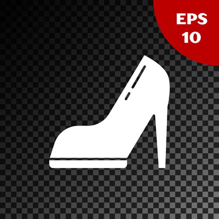 White Woman shoe with high heel icon isolated on transparent dark background. Vector Illustration Stock Illustratie