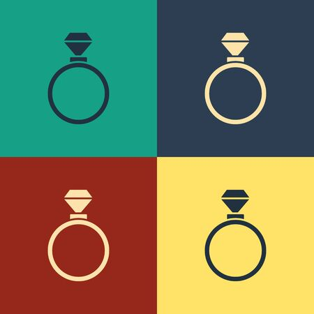 Color Wedding rings icon isolated on color background. Bride and groom jewelry sign. Marriage symbol. Diamond ring. Vintage style drawing. Vector Illustration