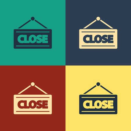 Color Hanging sign with text Closed icon isolated on color background. Business theme for cafe or restaurant. Vintage style drawing. Vector Illustration Stockfoto - 136506689