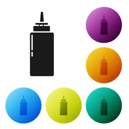 Black Sauce bottle icon isolated on white background. Ketchup, mustard and mayonnaise bottles with sauce for fast food. Set icons colorful circle buttons. Vector Illustration