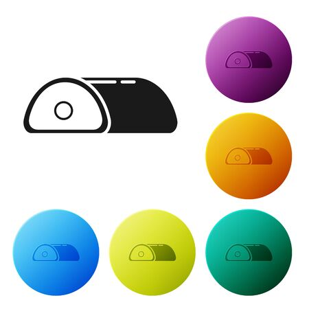Black Meat icon isolated on white background. Set icons colorful circle buttons. Vector Illustration Illustration