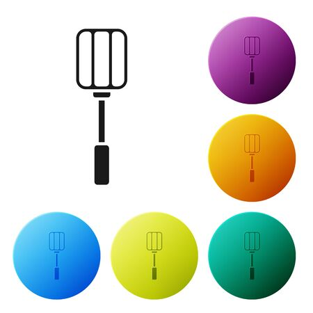 Black Spatula icon isolated on white background. Kitchen spatula icon. BBQ spatula sign. Barbecue and grill tool. Set icons colorful circle buttons. Vector Illustration