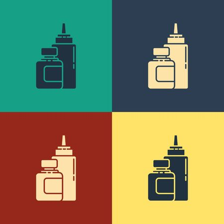 Color Sauce bottle icon isolated on color background. Ketchup, mustard and mayonnaise bottles with sauce for fast food. Vintage style drawing. Vector Illustration Ilustração
