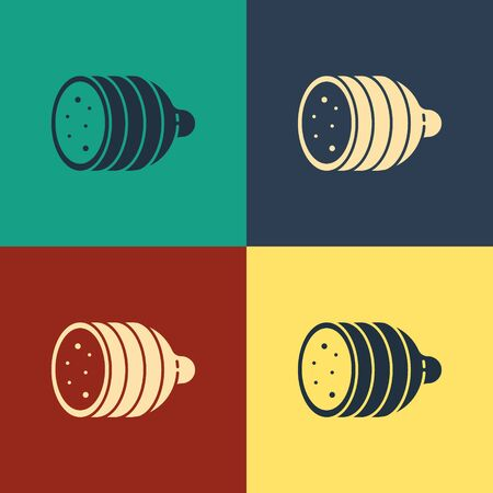 Color Salami sausage icon isolated on color background. Meat delicatessen product. Vintage style drawing. Vector Illustration Vettoriali