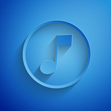 Paper cut Music note, tone icon isolated on blue background. Paper art style. Vector Illustration