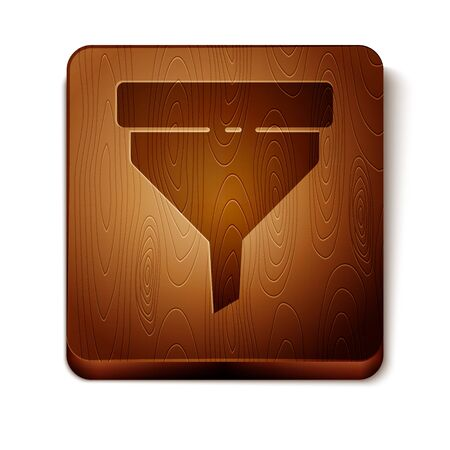 Brown Funnel or filter icon isolated on white background. Wooden square button. Vector Illustration