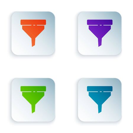 Color Funnel or filter icon isolated on white background. Set icons in square buttons. Vector Illustration