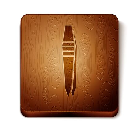 Brown Tweezers icon isolated on white background. Wooden square button. Vector Illustration