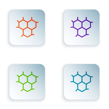 Color Chemical formula icon isolated on white background. Abstract hexagon for innovation medicine, health, research and science. Set icons in square buttons. Vector Illustration