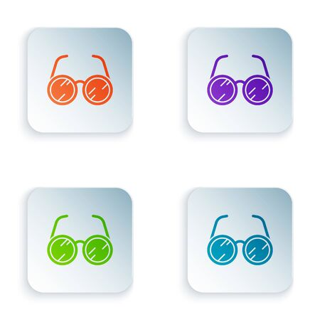 Color Laboratory glasses icon isolated on white background. Set icons in square buttons. Vector Illustration