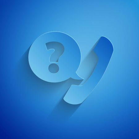 Paper cut Telephone handset and speech bubble chat icon isolated on blue background. Phone sign. Paper art style. Vector Illustration