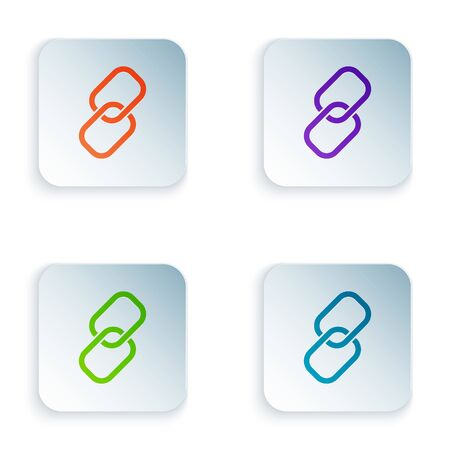 Color Chain link icon isolated on white background. Link single. Set icons in square buttons. Vector Illustration