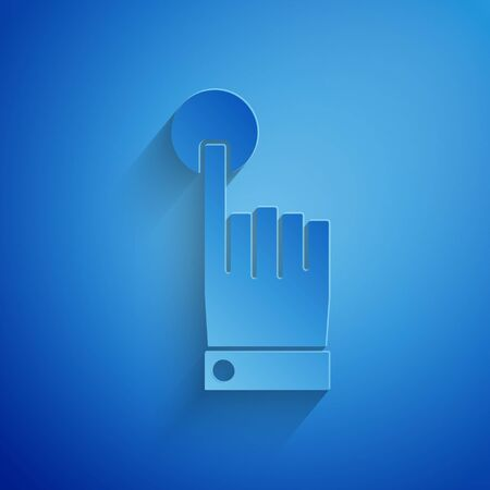 Paper cut Hand touch and tap gesture icon isolated on blue background. Click here, finger, touch, pointer, cursor, mouse symbol. Paper art style. Vector Illustration
