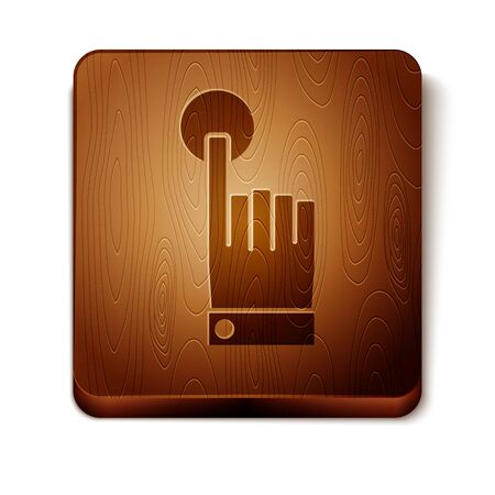 Brown Hand touch and tap gesture icon isolated on white background. Click here, finger, touch, pointer, cursor, mouse symbol. Wooden square button. Vector Illustration