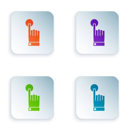 Color Hand touch and tap gesture icon isolated on white background. Click here, finger, touch, pointer, cursor, mouse symbol. Set icons in square buttons. Vector Illustration