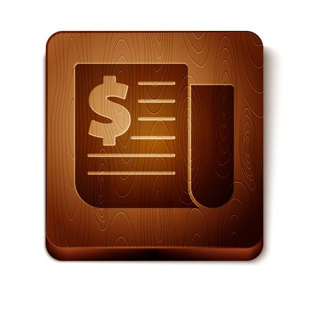 Brown Financial news icon isolated on white background. Wooden square button. Vector Illustration