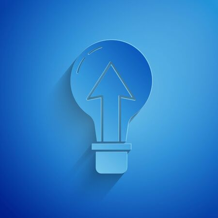 Paper cut Light bulb icon isolated on blue background. Energy and idea symbol. Lamp electric. Paper art style. Vector Illustration