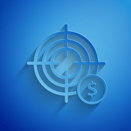 Paper cut Target with dollar symbol icon isolated on blue background. Investment target icon. Successful business concept. Cash or Money. Paper art style. Vector Illustration