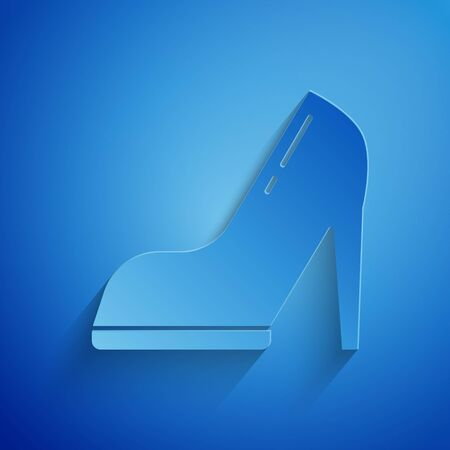 Paper cut Woman shoe with high heel icon isolated on blue background. Paper art style. Vector Illustration