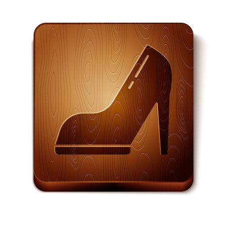 Brown Woman shoe with high heel icon isolated on white background. Wooden square button. Vector Illustration Stock Illustratie