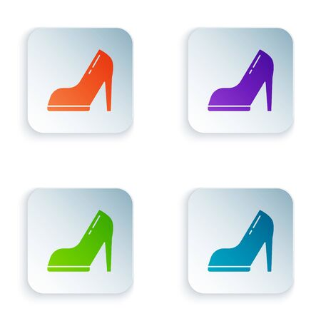 Color Woman shoe with high heel icon isolated on white background. Set icons in square buttons. Vector Illustration Stock Illustratie