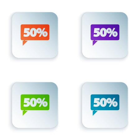 Color Fifty discount percent tag icon isolated on white background. Shopping tag sign. Special offer sign. Discount coupons symbol. Set icons in square buttons. Vector Illustration